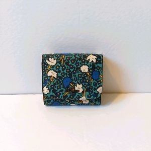 Coach Trifold Wallet Turquoise Floral